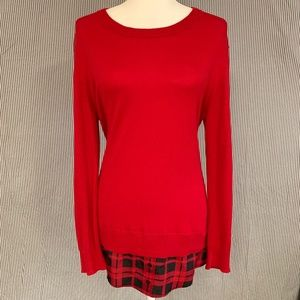 MICHAEL Kors Red Sweater With Plaid Shirttail